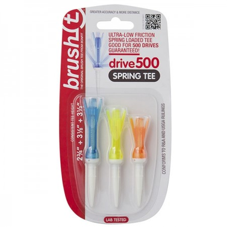 Brush T Spring Combo 3-Pack Multi Color/Size Drive500 Golf Tees