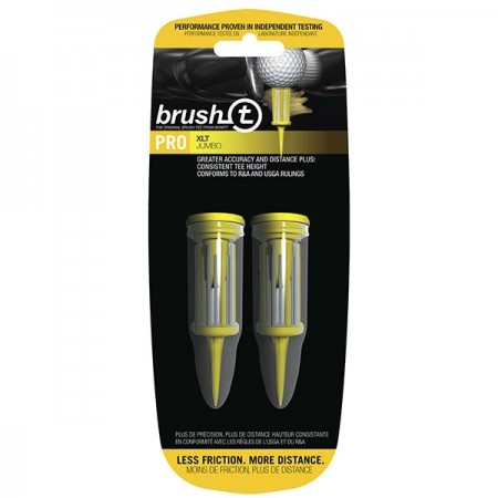 "Brush T Bristle 3.125"" XLT Golf Tees - Yellow - 2 Tees (w/ 2 Ball Markers)"