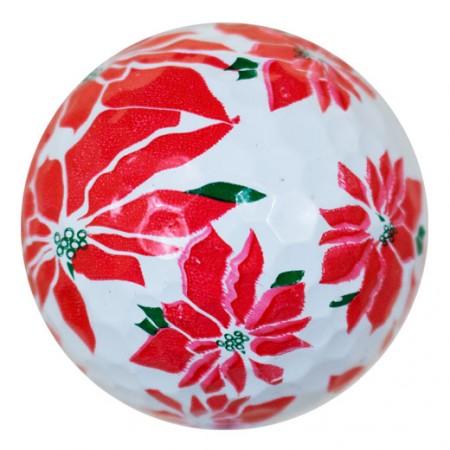 Poinsettia Print Novelty Golf Balls