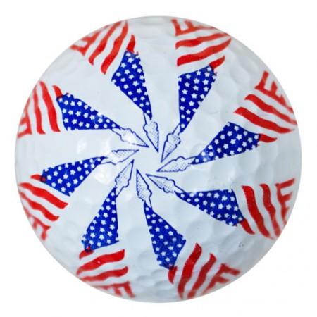 Pin Wheel USA Flag Print Novelty Golf Balls
