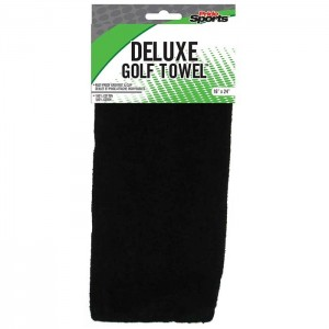 "Pride Sports Deluxe Black Cotton Golf Towel 16"" x 24"""