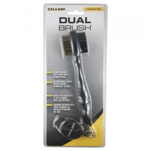 Champ Dual Bristle Golf Club Brush with Zip Line