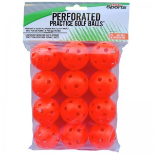 Pride Sports Perforated Orange Practice Golf Balls (12 Balls)